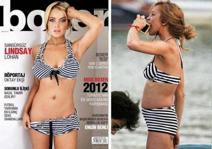 21 Photos Of Celebrities On Magazine Covers Vs Real Life Omgsnaps In 2020 Real Women Bodies Celebrity Bodies Skinny Celebrities