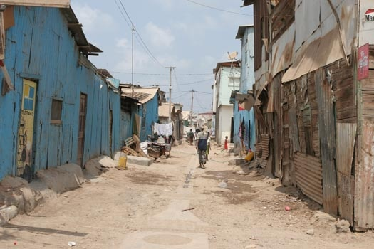 Street in the African quarter in Djibouti ville