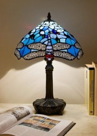 Tiffany Style Table Lamp Blue Dragonfly Amazon Co Uk Lighting