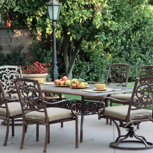 Darlee Santa Barbara 6-person Cast Aluminum Patio Dining Set - Antique Bronze by Darlee. $1630.85. Cast aluminum construction is naturally rust resistant. Lightweight aluminum frame makes rearranging your furniture easy. Includes Umbrella Hole. Set Includes: Dining Table, 4 Dining Chairs, 2 Swivel Rocker Dining Chairs, Sesame-Colored Polyester Cushions. Antique bronze powder coating is tougher than conventional paint finishes. Darlee Santa Barbara 6-Person Cast Alumi...
