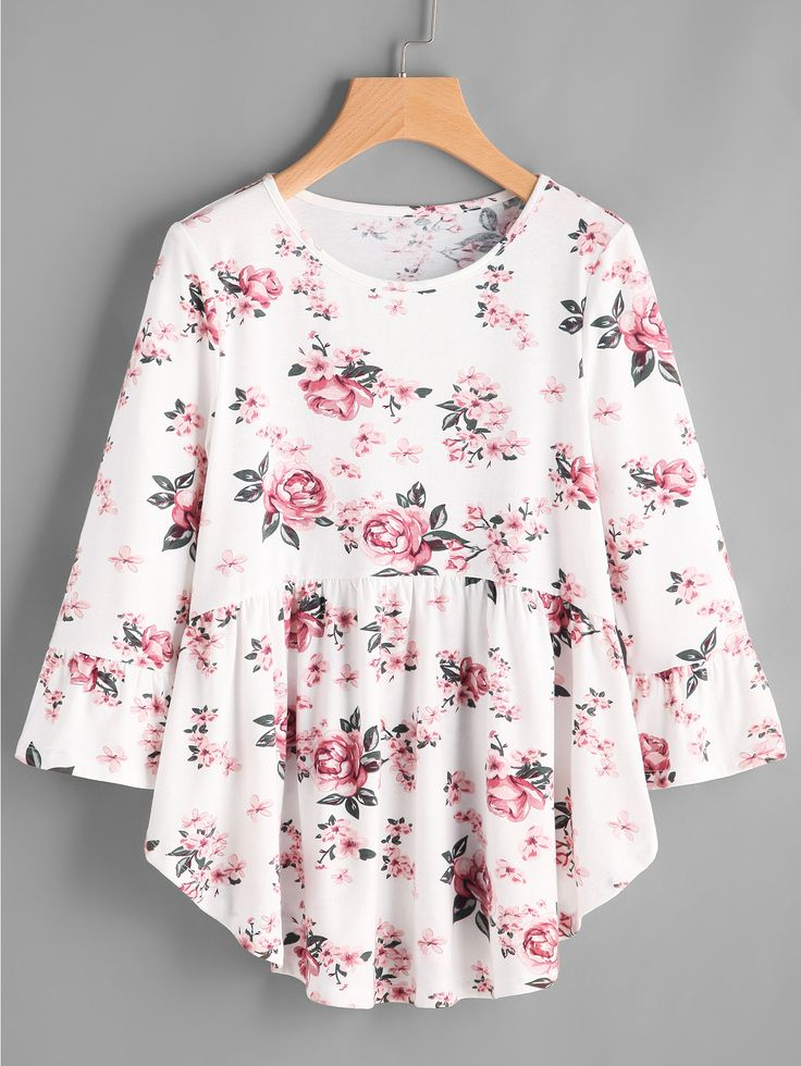 Shop Rose Print Curved Smock Tee online. SheIn offers Rose Print Curved Smock Tee & more to fit your fashionable needs.