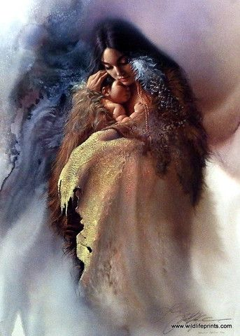 "A lovely Native American woman wraps her baby snugly with the hide of a large animal in Lee Bogle's Close to the Heart. This print is signed and numbered and is available unframed in size of 19""x26"""