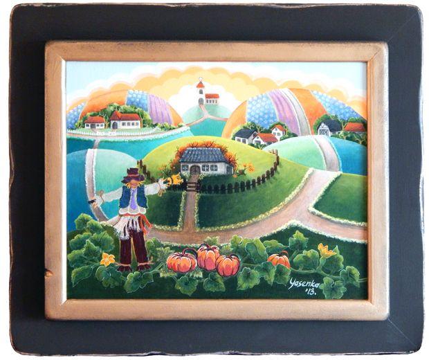Autumn (2013) Acrylic and embroidery on canvas 28 x 33 x 2.5
