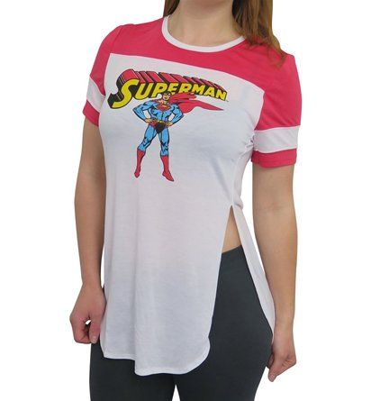 This soft and sheer Superman t-shirt for women features a classic image of Superman presented on a drapey-style tee with stylish football jersey accents.