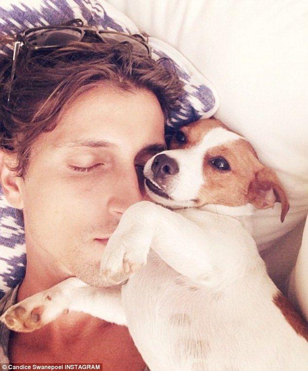 Candice Swanepoel's boyfriend Hermann Nicoli with terrier