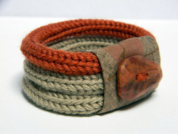Knitted bracelet wool and fabric linen beige burnt orange by ylleanna