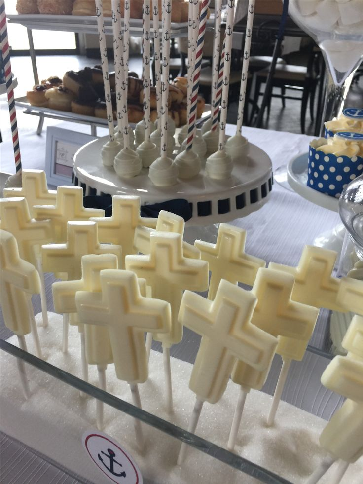 Sweet candy bar -baptism-anchor theme -cupcakes and cake pops