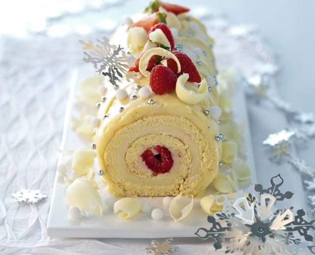 A classic Yule Log is welcome on a Christmas table, this white chocolate version, however, is a real show stopper of a cake.