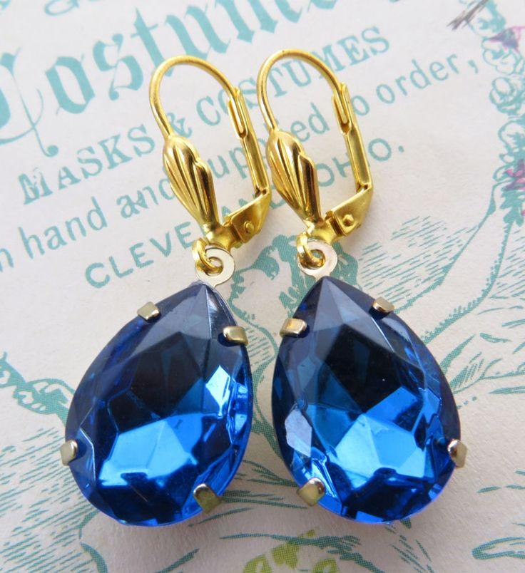 Orecchini con gocce vintage swarovski blu zaffiro tono oro gioielli fatti a mano
