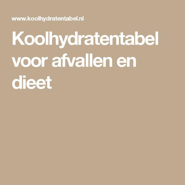 Koolhydratentabel voor afvallen en dieet