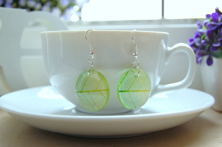 beautiful resin earring with skeleton leaf.  hand made!!!