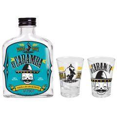 Kit Tequila Ay Caramba! - Vaca Design Com esse conjunto para tequila sua festa vai ficar muito mais animada. Com uma garrafa que cabe no bolso, você pode tomar sua bebida preferida sem chamar atenção, ou deixá-la em casa como uma bela peça de decoração para o seu bar.