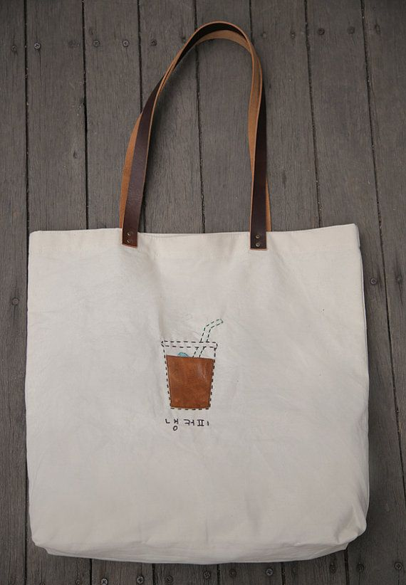 Handmade Eco Bag, Cotton Bag, Picnic Bag, Eco Friendly with Hand-stitch Leather Strap, Hand-stitch Ice Coffee Eco Bag