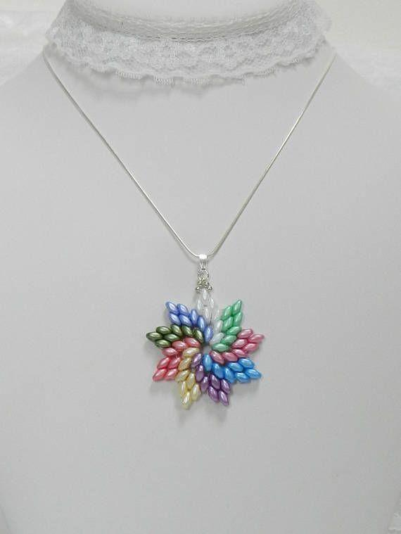Woven Super Duo pendantWoven Super Duo necklaceBeaded