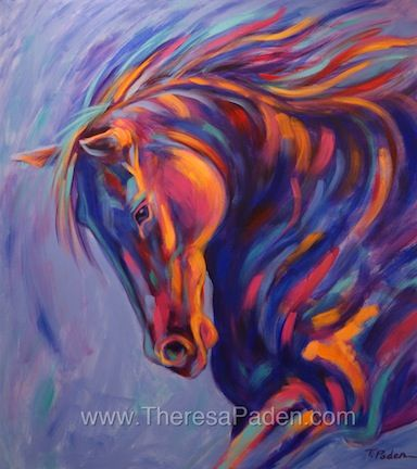 """Purple, Pink, and Blue Abstract Horse Painting     """"Tango""""     By Theresa Paden         40 x 36""""     Acrylic paint on a 1.5"""" gal..."""