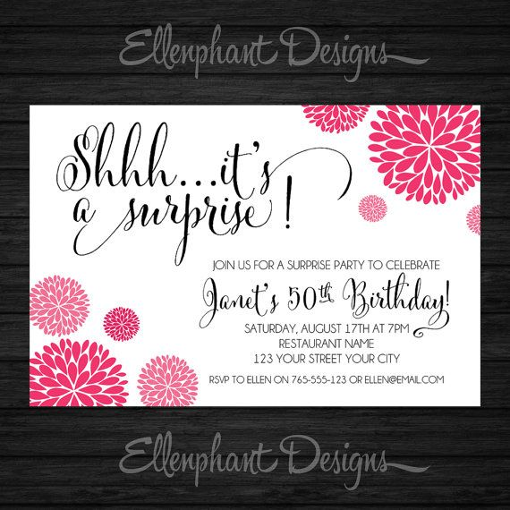 17 best convite de aniversario 70 anos images on pinterest surprise birthday invitation pink hot pink handwritten font 30th 40th 50th 60th adult custom invite digital file you print diy filmwisefo