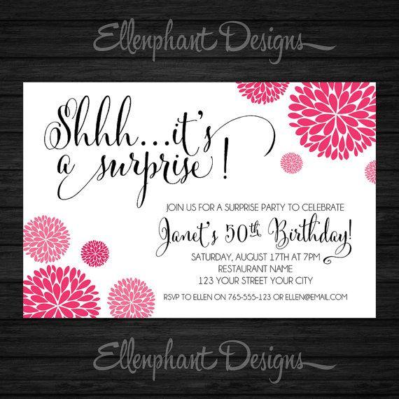 The 25+ best Surprise birthday invitations ideas on Pinterest ...