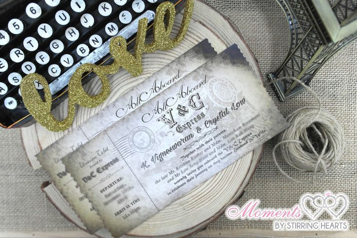 • Custom Wedding Invitations  •  Vintage Train Ticket | Moments by Stirring Hearts | Singapore