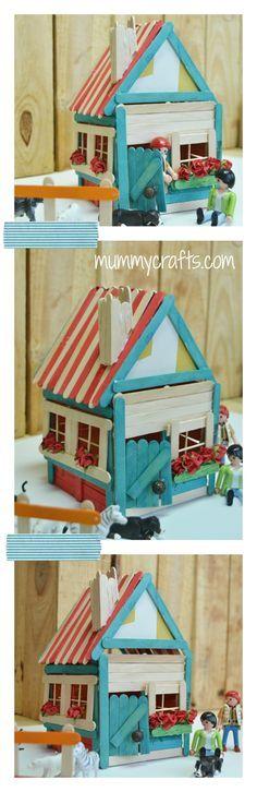 Manualidades con Palitos de helados, una casita muy mona