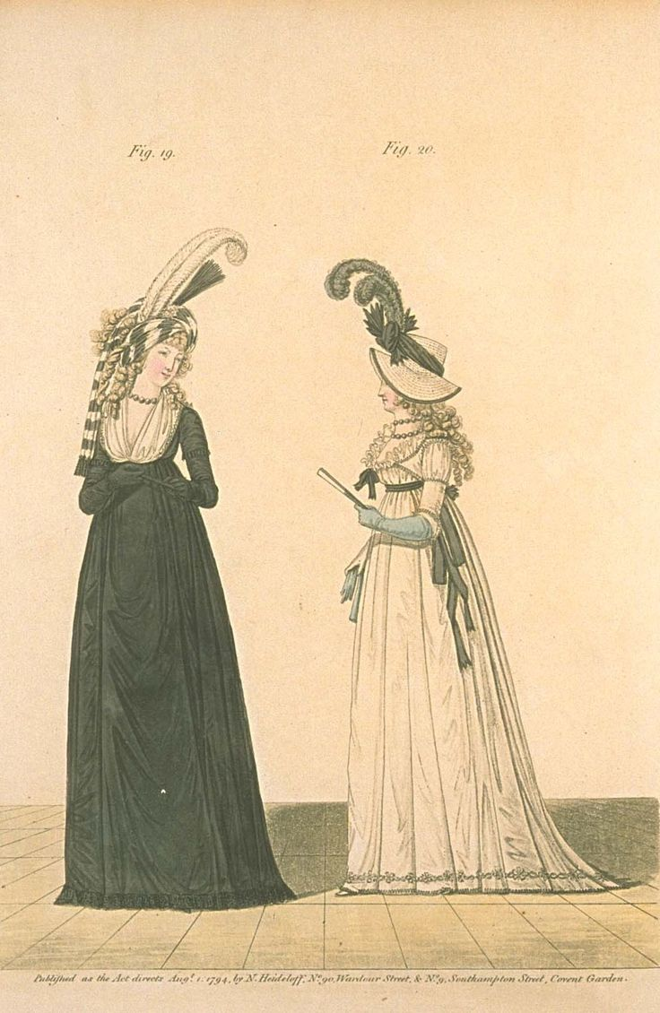 Gallery of fashion August 1794 - A lady in mourning and a lady in half-mourning