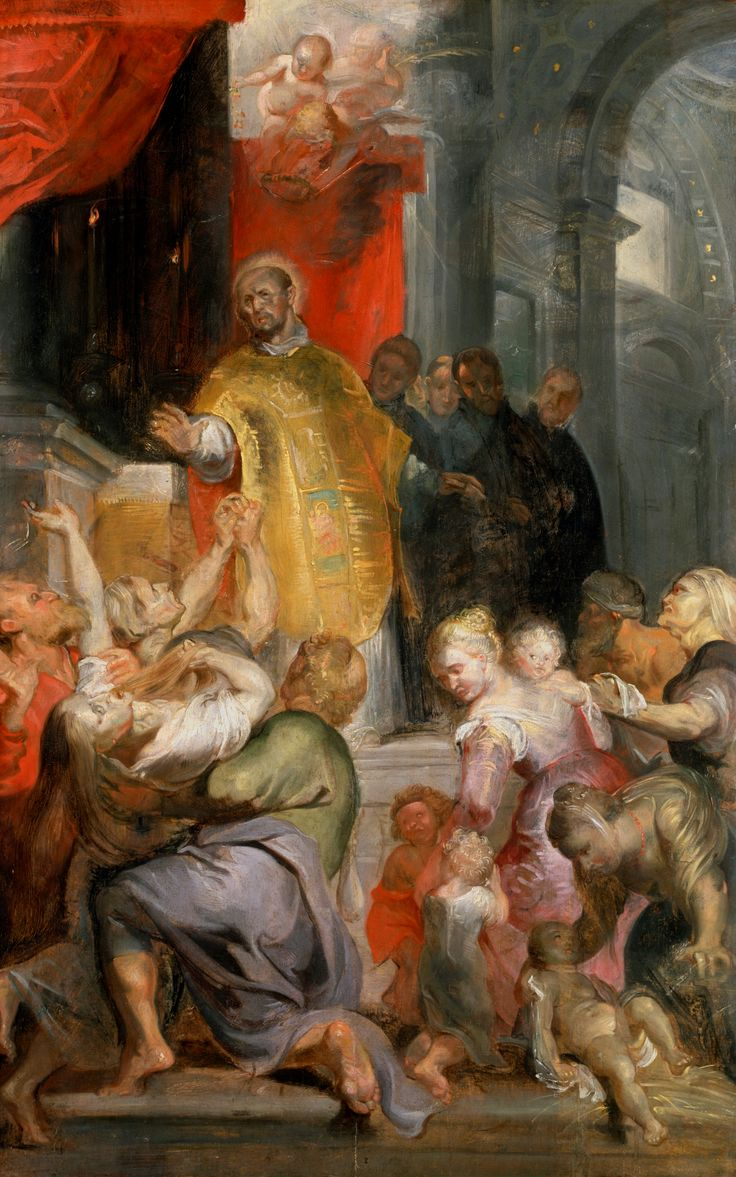 "Miracles of Saint Ignatius of Loyola by Peter Paul Rubens, ca. 1619 (PD-art/old), Dulwich Picture Gallery, similar painting possibly by Peter Paul Rubens was in the collection of the Polish Vasas - inventory of John Casimir's collection lists under no. 107. ""St. Ignatius in an interior, who heals possessed in black frame"""
