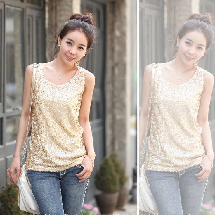 4XL Sleeveless Loose Sequined Bling Shiny Women Tank Tops 2016 New Fashion Gold And Black Sequined Plus Size Shower Vest