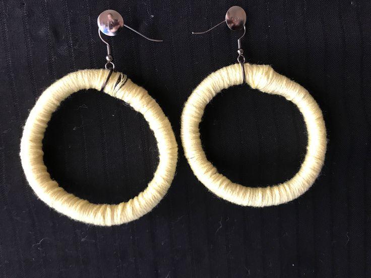 Yellow, Woven Tribal Hoop Earrings by RufusandOscar on Etsy
