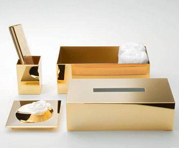 Harmony 509 Tissue Box in Gold - contemporary - Tissue Box Holders - Modo Bath