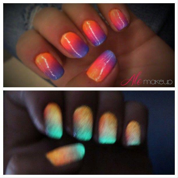 www.alemakeup.com Uñas degradadas que brillan en la oscuridad! gradient nails glow in the dark!