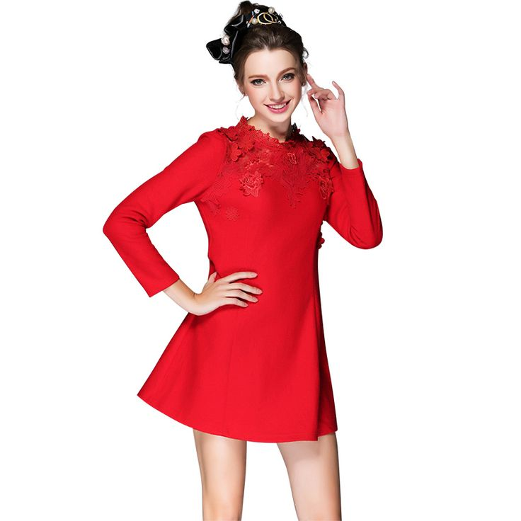 Elegant  Lace Mock Neck Little Black Dress S- 5xl   Fall Winter Long Sleeve Red Flare Party Oh Yeah Visit us