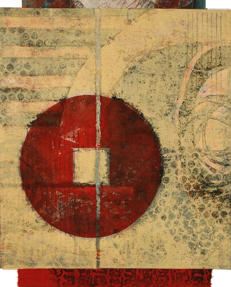 """Joining Forces, by Anne Moore, monotype with collage, 15.5""""X 13"""""""
