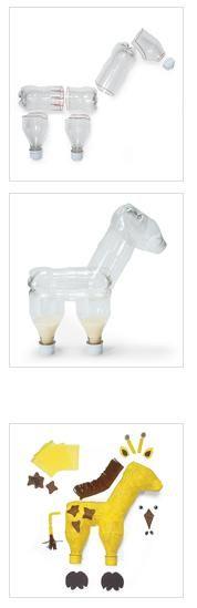 Juguetes reciclados: una jirafa hecha con botellas, paso a paso.