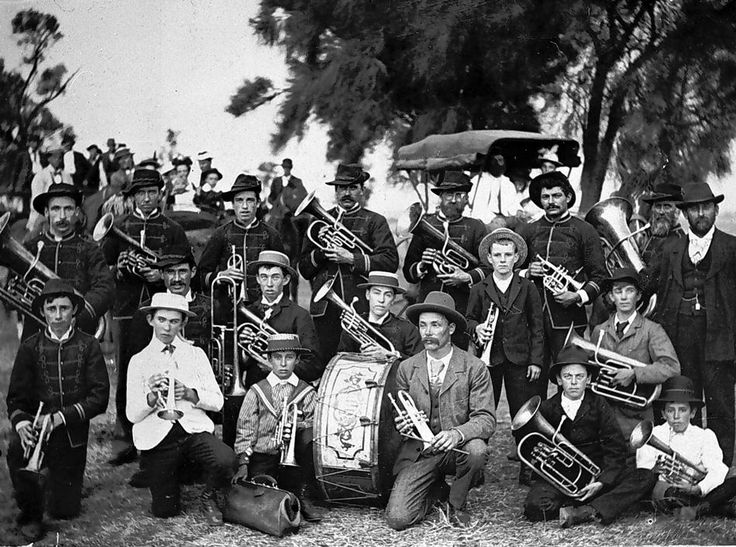 Members of the Jeffcott District Brass Band, c1905.