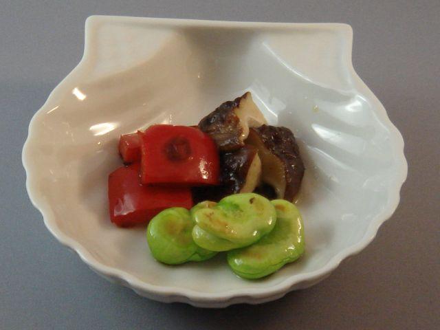 空豆、椎茸、パプリカオリーブオイル焼き