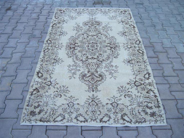 Turkish Rug 4.0x6.11 Feet 213x123 Cm Turkish Gray Rug Handmade Gray Rug Oushak Gray Rug Vintage Gray Rug Turkish Carpet Rug Gray Carpet Rug by Ebrarshops on Etsy