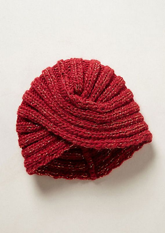 Modo turbante Gorro de lana en tono granate, de Anthropologie