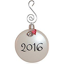 Babies First Christmas Ornament 2016 - Baby Girl Ornament with Pink Crystal Heart and Footprint Charms in Organza Gift Bag