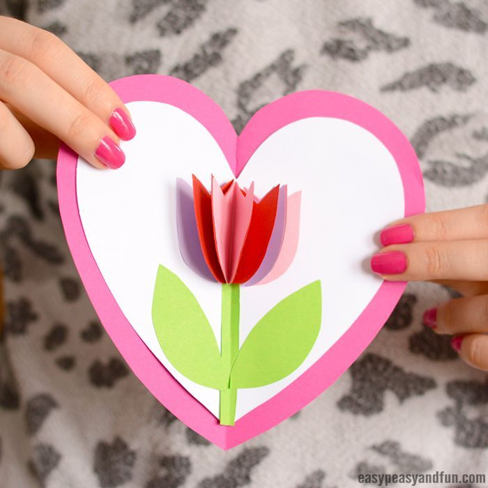Tulip In A Heart Card Diy Mother S Day Crafts Easy Diy Valentine S Day Cards Valentine S Day Crafts For Kids