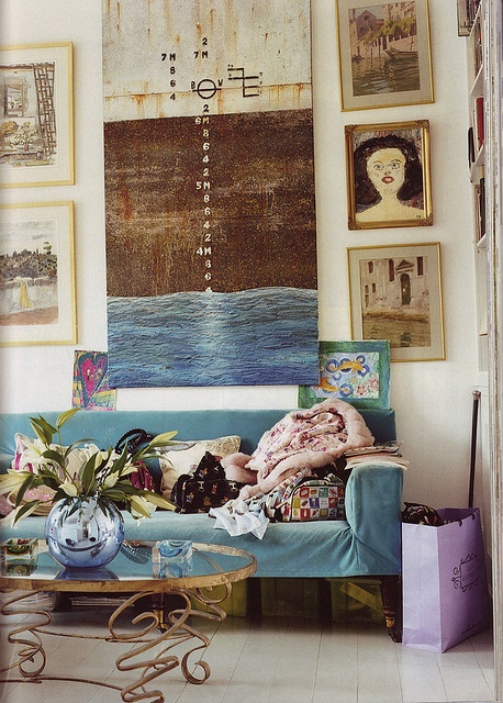 Salon by midcenturyjo, via Flickr love the painting, coffee table, like the blue velvet in cushions