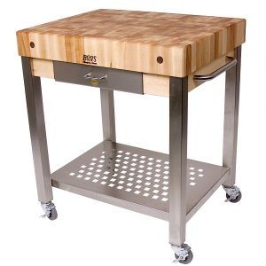 John Boos Butcher Block Kitchen Island With Shelves And Drawer
