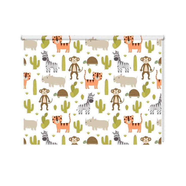 Rolgordijn Wilde dieren patroon 2 | Met dit rolgordijn een bijzondere raamdecoratie in huis. Je kunt zelf de maten aangeven. YouPri maakt het rolgordijn speciaal voor jou op maat. Dit rolgordijn is daardoor geschikt voor ieder interieur! #rolgordijn #opmaat #maatwerk #bedrukt #print #fotoprint #lichtdoorlatend #verduisterend #dubbelzijdig #wilde #dieren #illustratie #patroon #aap #zebra #neushoorn #tijger #babykamer #jongen #meisje #cactus
