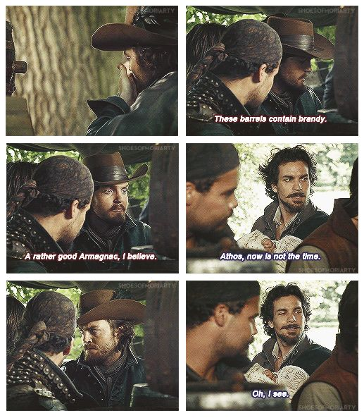 The Musketeers - 1x06 - The Exiles, lol was I the only one thinking 'Seriously Aramis? Its Athos not Porthos...' clearly Athos was at least <3