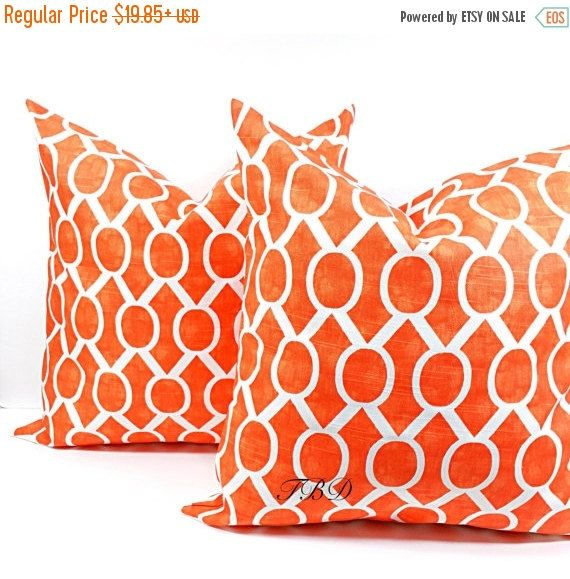 SALE Orange Pillow cover.Set of two Burnt by TwistedBobbinDesigns