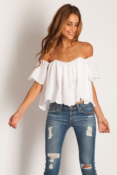 shirt white summer top jeans blouse top bouse tube top cute crop shoulderless white of the shoulder blouse flowy off the shoulder