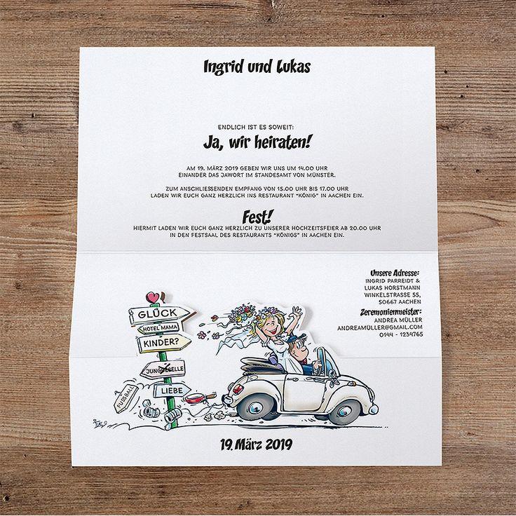 Fröhliche Hochzeitseinladung mit Brautpaar online bestellen bei Top-Kartenlieferant in Aachen.
