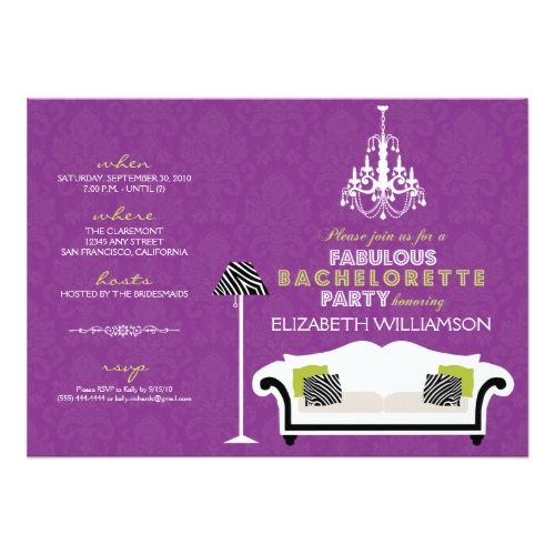 Stylish Zebra Decor Bachelorette Invite (purple)