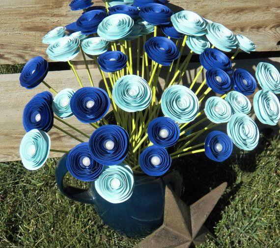 Espiral personalizado papel flor centro de mesa por crazy2becrazy