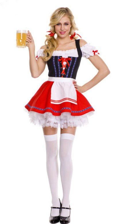 Adult Oktoberfest Costume Lace-Up Front German Wench Beer Maid Girl Fancy Dress Outfit(China (Mainland))