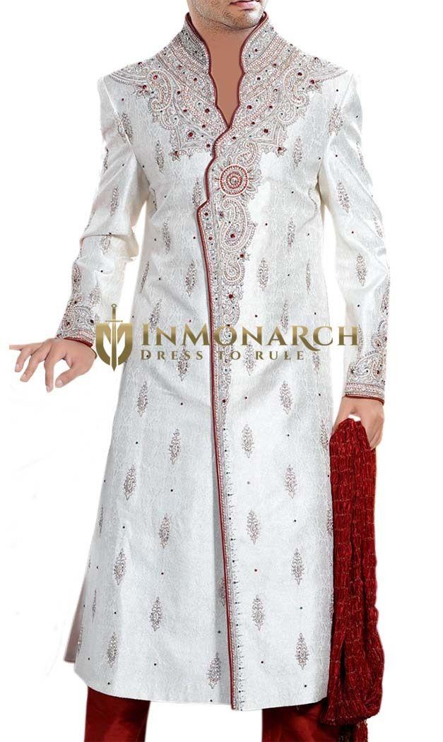 Shimmering Cream Partywear  #Sherwani #Inmonarch #Ethnic Wear Wedding Wear #Indian Wedding Wear #Wedding Collection
