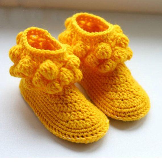 yellow crochet slippers girls handmade house shoes slippers